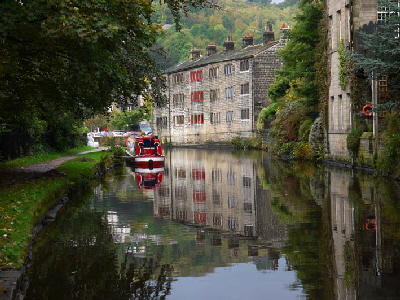 View to The Smithery B&B, Rochdale Canal, Hebden Bridge